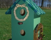 CLEARANCE - Green Mosaic Tile Roof Birdhouse