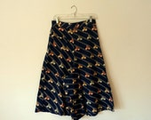 RESERVED // 1930s navy BICYCLE novelty print gaucho pants .. m