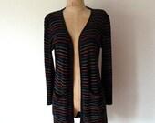 70s rainbow stripe long open cardigan .. m