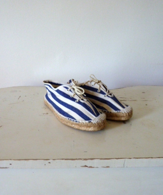 80s blue  STRIPED canvas espadrille sneakers  .. 5.5/6