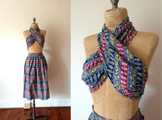 FINAL SALE ...1950s Dutch folk print halter top skirt set .. xs
