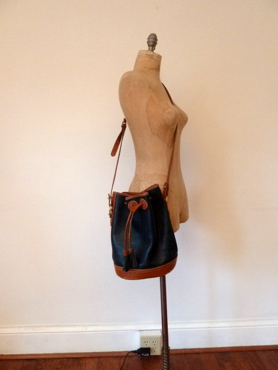 80s COACH pebbled leather drawstring bag
