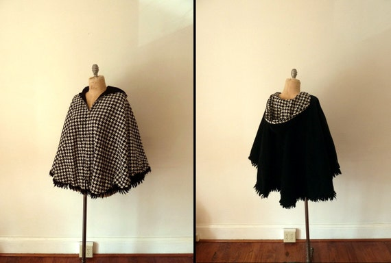 60s houndstooth corduroy reversible hooded cape