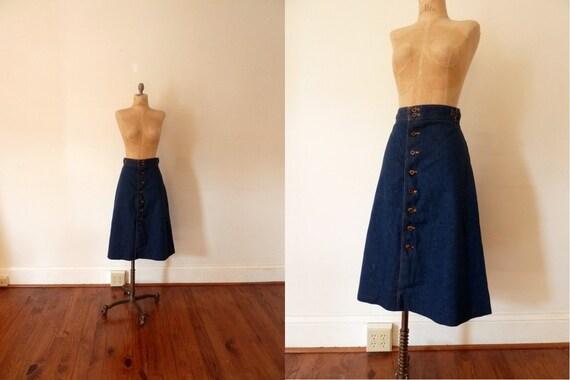 70s indigo denim a-line skirt