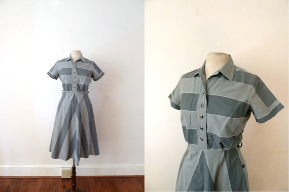RESERVED // 1940s gray striped cotton day dress