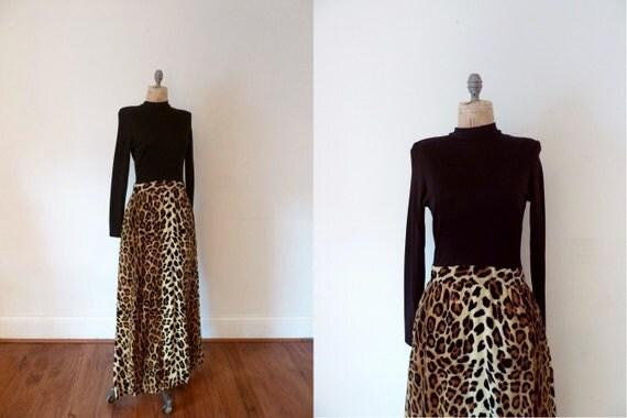 70s leopard print slender maxi dress