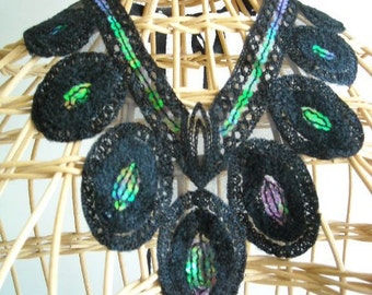 Sale....Sale.........Handmade Beautiful Black Necklace with Green Sequins or Dress Applique,