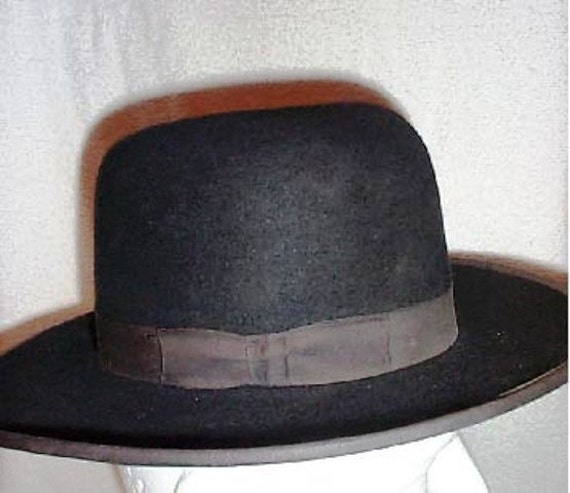 New Authentic Amish Mans Black Felt Hat By Kandel Co Size