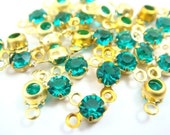 12 - 17ss Tiny Vintage Swarovski Crystals in 2 Rings Open Back brass Prong Settings - Blue Zircon