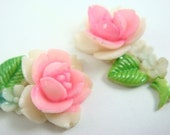 4 Vintage Hand Painted Rose with Stem and Leaf Cabochons - Pink