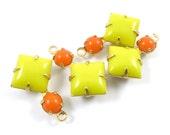 2 - Vintage Glass Charms Pendants Square 1 Ring Set Stones Brass Prong Settings Lemon Yellow & Tangerine Orange 18x11mm