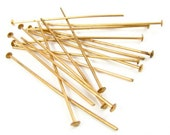 Vintage Raw Brass Head Pins Finding - 39mm - 100