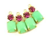 2 - Vintage Set Stones Glass Octagon Earring Rhinestone Charms 1 Ring Brass Settings Jadite & Fuchsia 16x6mm