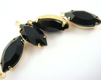 4 - Vintage Glass Faceted Navette Stones in 1 Ring Closed Back Brass Prong Settings - Jet Black - 15x7mm