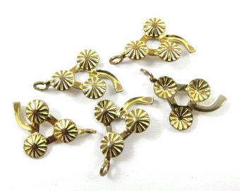 12 - Vintage Tiny Brass Flower Charm / Dangle Finding .