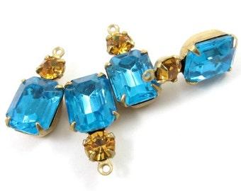 2 - Vintage Octagon Stone and Swarovski Crystal in 1 Ring 2 Stones Brass Prong Settings - Aquamarine & Light Topaz - 18x8mm