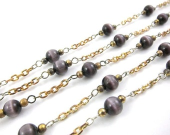 Vintage Beaded Chain with Synthetic Cats Eyes Beads - Purple - 6mm - 2 Feet