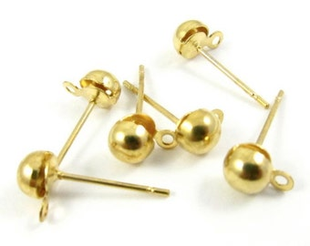 Gold Plated Ball Ear Post with Ring - 5mm - 12
