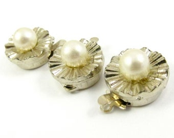 1 pc - One Strand Vintage Pearl Box Clasp
