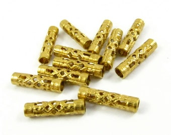 20 - Small Gold Toned Ornate Tubes .