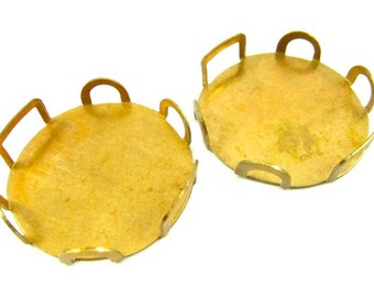 Vintage Brass Round Settings - 25mm - 4