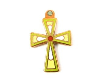 1 Small Vintage Copper Enamel Cross Pendant - Lime Green and Yellow .