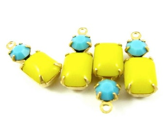 2 - Vintage Glass Charms Octagon 1 ring Set Stones Brass Prong Settings Lemon Yellow & Turquoise 16x6mm