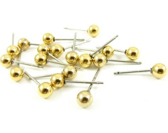 Gold Plated Ball Ear Post - 4mm - 20