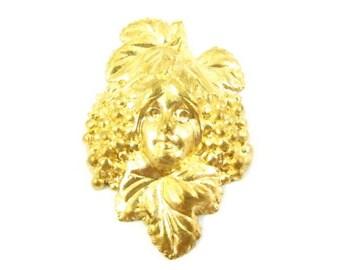 4 - Vintage Grape Goddess Brass Stamping .