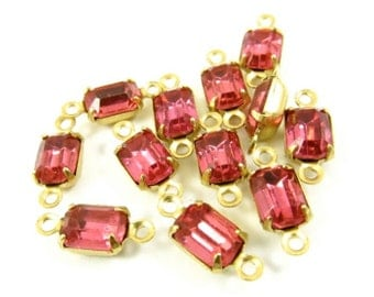 6 - Vintage Glass Octagon Stones in 2 Rings Closed Back Brass Prong Settings - Rose Pink - 7x5mm