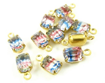 6 - Vintage Glass Octagon Stones in 1 Ring Closed Back Brass Prong Settings - Iris - 7x5mm