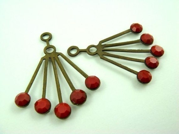 2 RARE Vintage Art Deco Style Brass Dangle Finding with Opaque Cherry Red Swarovski Crystals