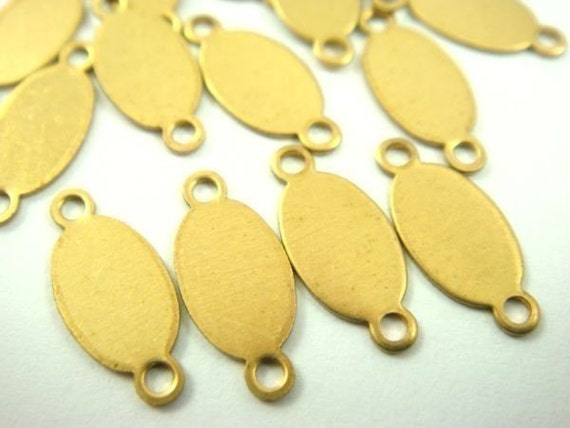 20 - 5x9mm Oval Brass Logo Tags with TWO Rings