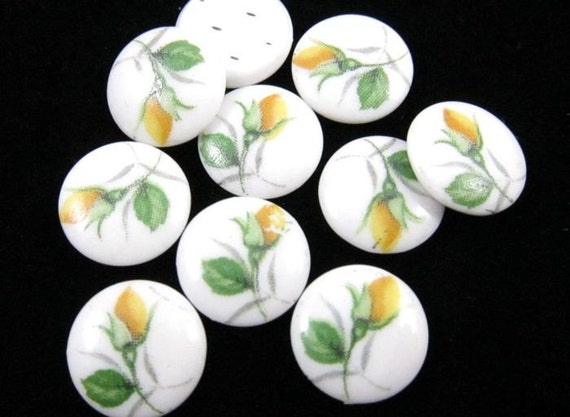 8 - 10mm  Vintage Glass Flower Round Cabochons - Yellow