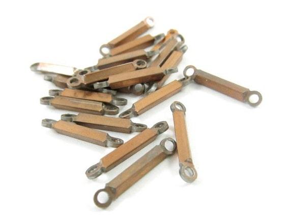 12 - Vintage Copper Sticks Bars / Links - 16mm .