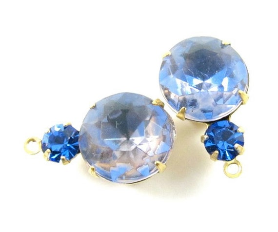 2 - 18x11mm  Vintage Faceted Round Glass Stones in 1 Ring Two Stones Brass Prong Settings -  Rose Light Sapphire and Sapphire