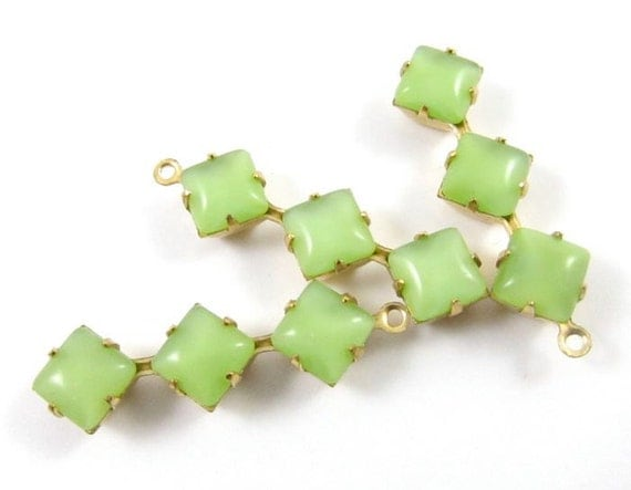 2 - 30x8mm  Vintage Glass Square Stone in 1 Ring Three-Stone Brass Prong Settings - Moonshine Light Green .