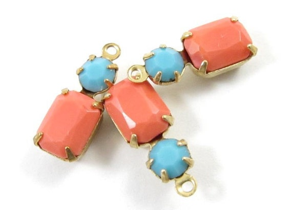 2 - Vintage Glass Octagon Stone and Swarovski Crystal in 1 Ring 2 Stones Brass Prong Settings - Faceted Coral & Turquoise - 16x6mm