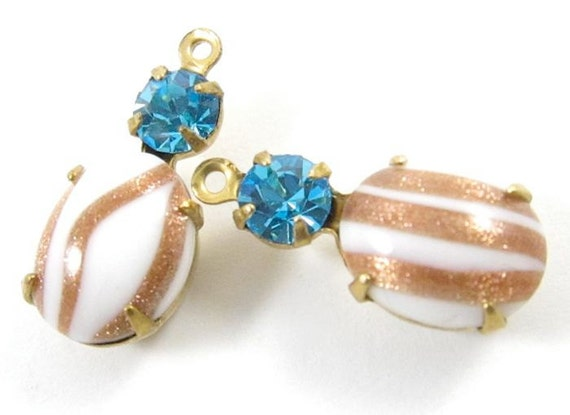 2 - 18x8mm  Vintage Glass Round and Oval Stones in 1 Ring Two-Stone Brass Prong Settings - White Aventurine and Dark Aqua .