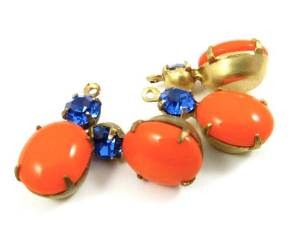 2 - Vintage Oval Round Glass Stones in 1 Ring Two-Stone Brass Prong Settings - Tangerine Orange and Sapphire - 18x8mm   .