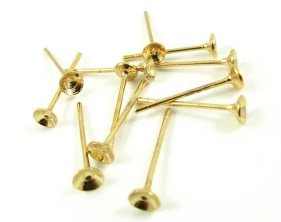 12 - Gold Plated Ear Post with Cup - 3mm