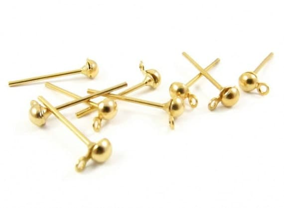 12 -  3mm Gold Plated Ball Ear Post with Ring .
