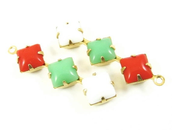 2 - 30x8mm  Vintage Glass Square Stone in 1 Ring Three-Stone Brass Prong Settings - Jadite, Chalk White and Cherry Red.