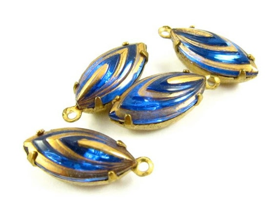 4 - 15x7mm Vintage Navette Stones in 1 Ring Closed Back Brass Prong Settings - Sapphire and Gold .