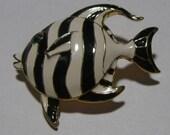 Enamel Angelfish Brooch--Black and White Figural
