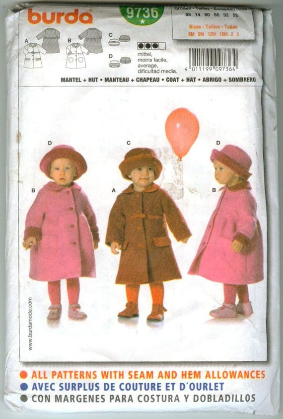Burda Coat Hat Pattern 9736 Baby Todder 6 months - 3T Two Patterns Ship Free USA Canada