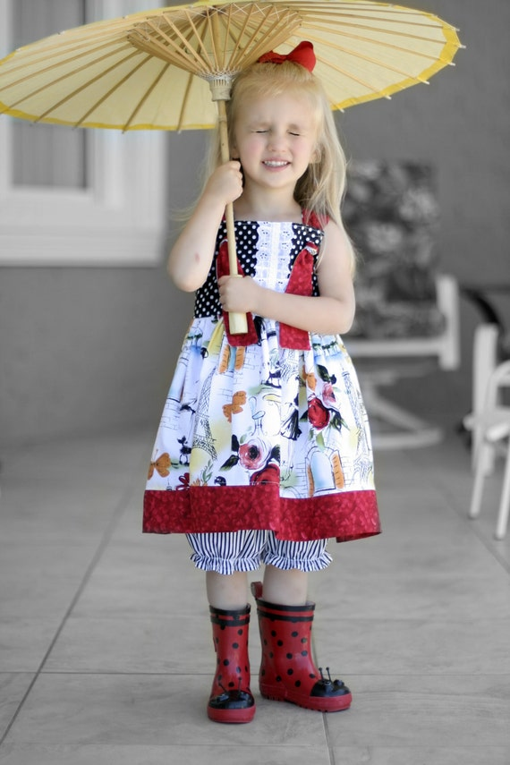SALE-  Ready to ship - Ooh La La Knot dress 4T with bloomers, Mademosielle, Eiffel Tower, Paris, French, Parisian, Poodle, Bistro