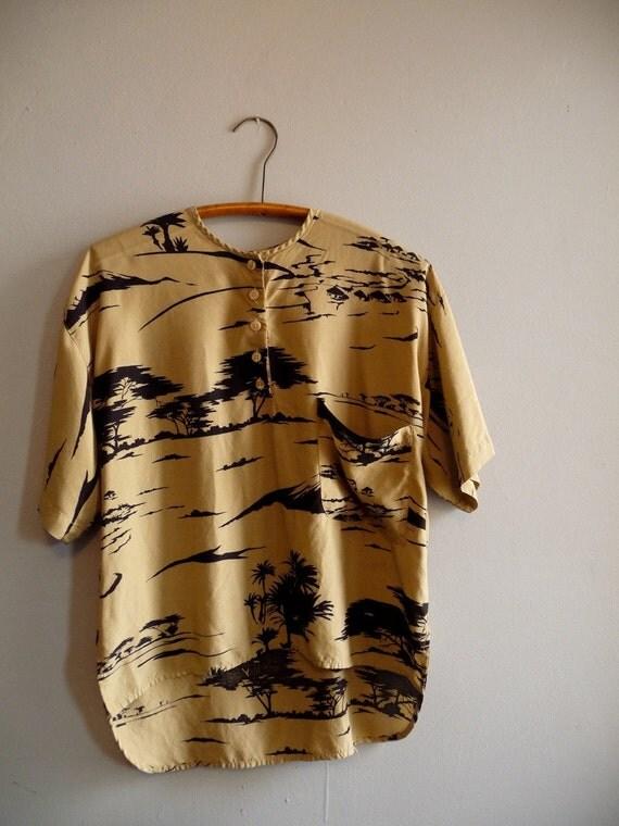 Sand beige and Black Sahara Print Safari Shirt Unisex