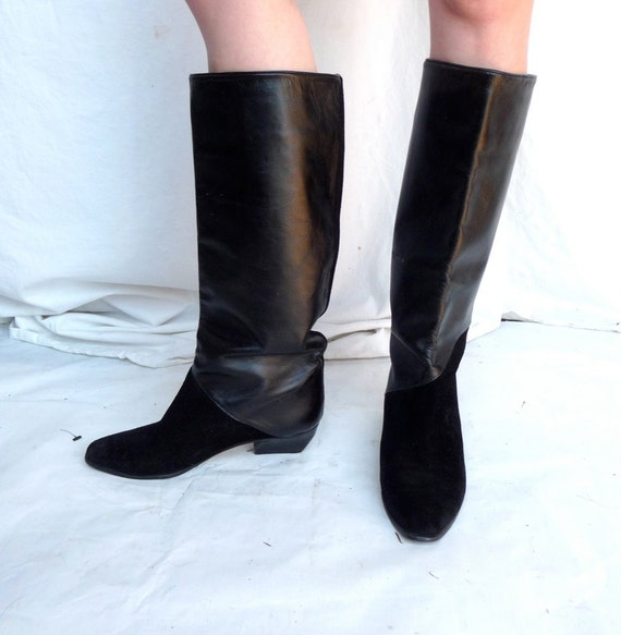 Gorgeous Black Leather and Suede Paneled Tall Boots Size 8