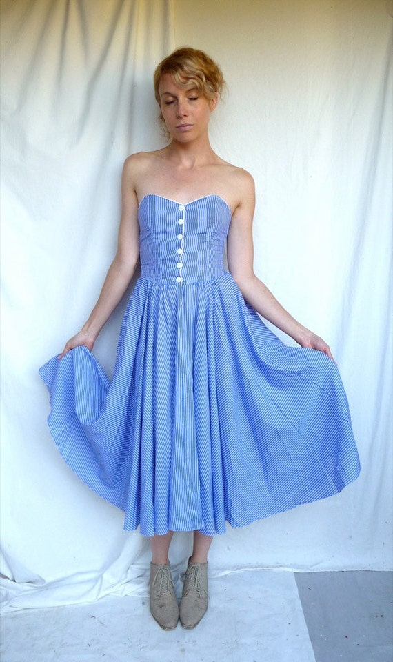RESERVED         80s Nina Picciliano Blue and White Striped Strapless Corset dress with Full Skirt XS